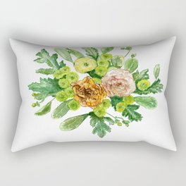 Green and yellow floral bouquet in watercolour Rectangular Pillow