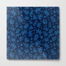 Matisse Paper Cuts // Duotone Blue Metal Print