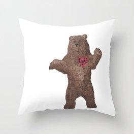 Brave Bear Braveheart Watercolor  Throw Pillow