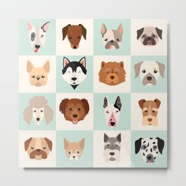 Big set of cute dogs icons, vector flat illustrations. Popular dogs breeds, pattern, card, game grap Metal Print