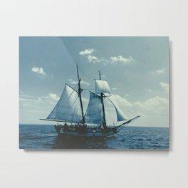 Blue Tinted Tallship Metal Print