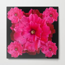 BLACK FUCHSIA-PINK  DOUBLE  HOLLYHOCK FLOWERS GARDEN Metal Print
