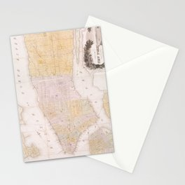 Vintage Map of New York City (1845) Stationery Cards
