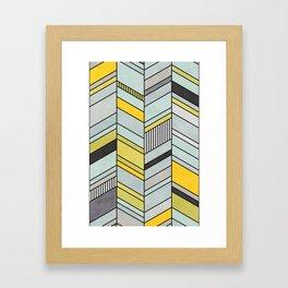 Colorful Concrete Chevron Pattern - Yellow, Blue, Grey Framed Art Print
