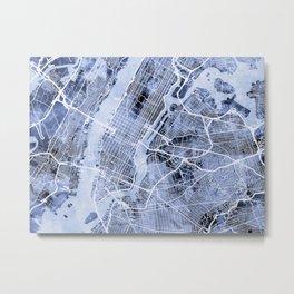 New York City Street Map Metal Print