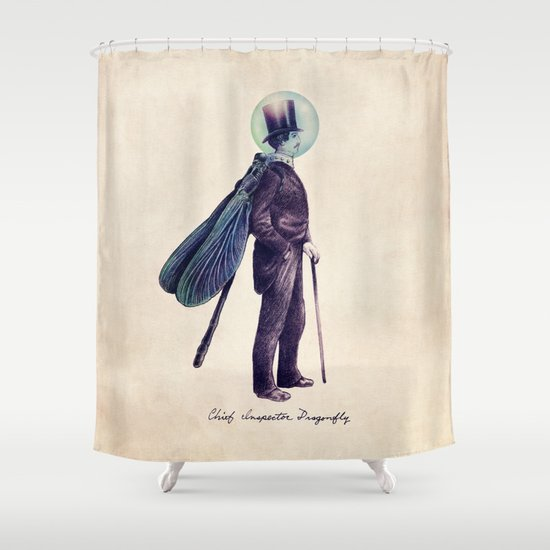 Inspector Dragonfly Shower Curtain by Eric Fan | Society6