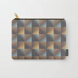 Industrial Urban Geometric Pattern in Burnished Gold & Steel Blue Carry-All Pouch