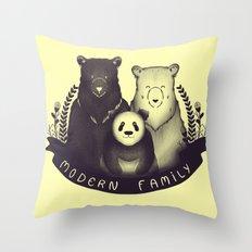 Modern Bear Family (Yellow) Throw Pillow