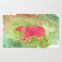 Bear  with flowers - Animal watercolor illustration on #Society6 Rug