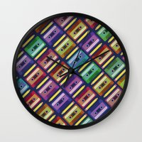 90s Wall Clocks featuring 90s pattern by Gabor Nemethi