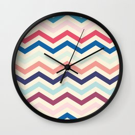Blue and pink zigzags Wall Clock