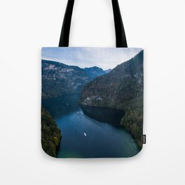 königssee waterfall alps bayern forrest drone aerial shot nature wanderlust boat mountains panorama Tote Bag