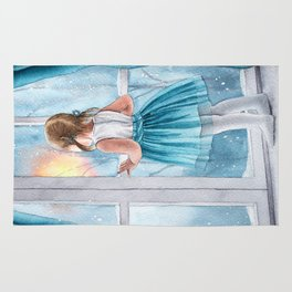 Watercolor little girl near snowy window (christmas) Rug