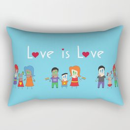 Love is Love Blue - We Are All Equal Rectangular Pillow
