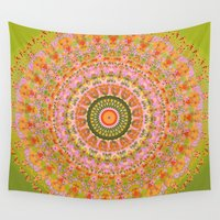 hippy Wall Tapestries featuring Happy Hippy Mandala by Vicki Field