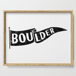 Boulder Colorado Pennant Flag // University College Dorm Room Graphic Design Decor Black & White Serving Tray