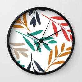 Nature Art, Red, Green, Gold, Navy, Leaves Print Wall Clock