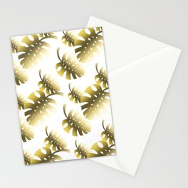 Modern gold color tropical cheese leaves pattern Stationery Cards