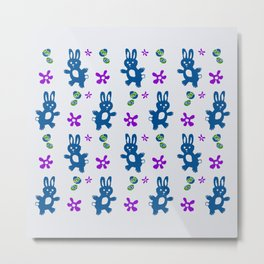 Bunnies Great Easter Egg Hunt - Blue Purple Green Metal Print
