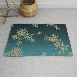 """""""MORE SNOW"""" TEAL BLUE ART DESIGN Rug"""