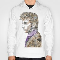 david tennant Hoodies featuring David Tennant Dr. Who Text portrait by Mike Clements