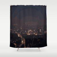 la Shower Curtains featuring LA by Erika Aquino