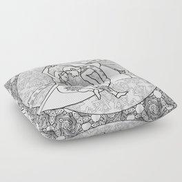 Women dancing line drawing Floor Pillow