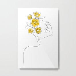 Mustard Bloom Girl Metal Print