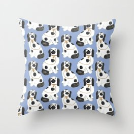 Staffordshire Dog Figurines No. 2 in Dusty French Blue Throw Pillow
