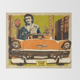 Retro Cuba design with car & Che Guevara Throw Blanket