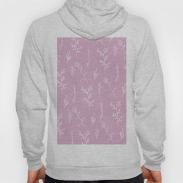 Modern spring pink lavender floral twigs hand drawn pattern Hoody