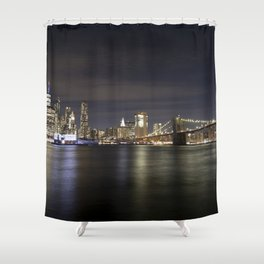 Manhattan And Brooklyn Bridge At Night Shower Curtain
