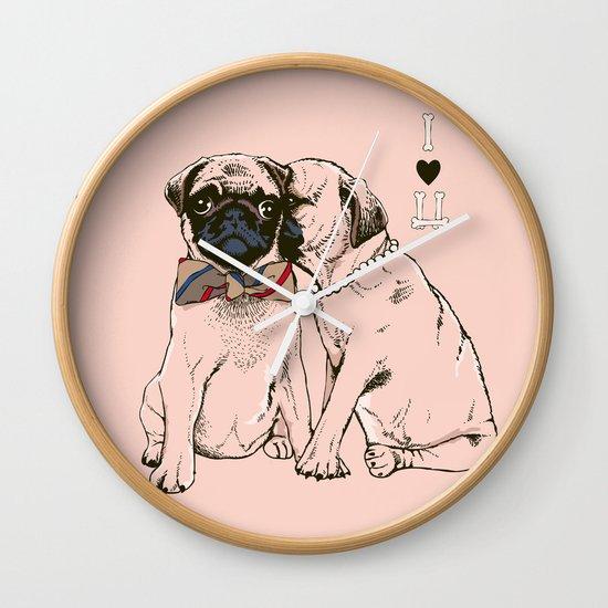 The Love of Pug Wall Clock