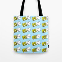 cyrilliart Tote Bags featuring Bananas Pattern by Cyrilliart