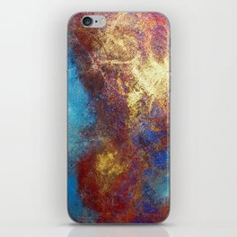 Red, Blue And Gold Modern Abstract Art Painting iPhone Skin