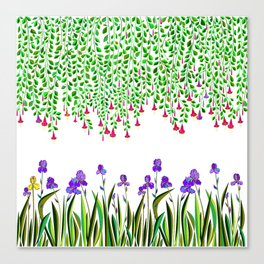 A Colorful Garden of Iris and Trumpets, Hanging Garden Canvas Print