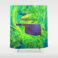 oklahoma Shower Curtains featuring Oklahoma Map by Roger Wedegis
