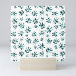 Marijuana leaf and scissors seamless pattern background Mini Art Print