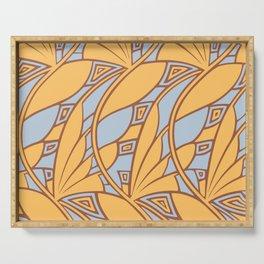 Modern art nouveau tessellations gamboge azure Serving Tray