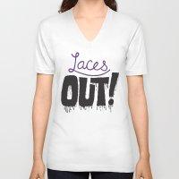 patriots V-neck T-shirts featuring Laces out! by Chris Piascik