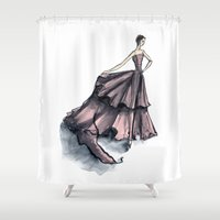 givenchy Shower Curtains featuring Audrey Hepburn in Pink dress vintage fashion by Notsniw
