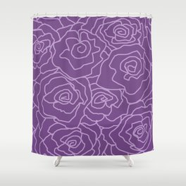 Lavender Dreams Roses - Dark with Light Outline - Color Therapy Shower Curtain