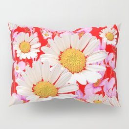 MODERN  DAISY FLOWER  RED ABSTRACT ART DESIGN Pillow Sham