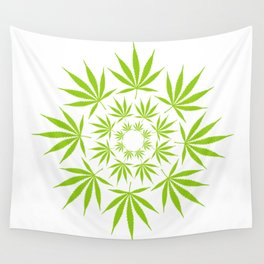 Cannabis Leaf Circle (White) Wall Tapestry