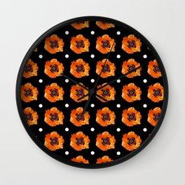 Orange Poppy Pattern Wall Clock