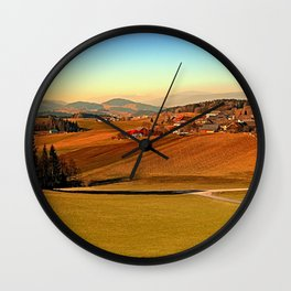 Picturesque panorama of countryside life   landscape photography Wall Clock