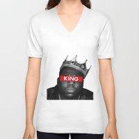biggie smalls V-neck T-shirts featuring Biggie Smalls by Creative Threads