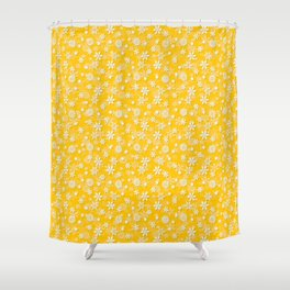 Festive Yellow Aspen Gold and White Christmas Holiday Snowflakes Shower Curtain