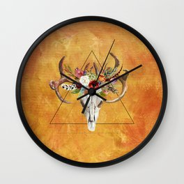 Boho Deer Skull Wall Clock