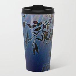 blue light and leaves Travel Mug